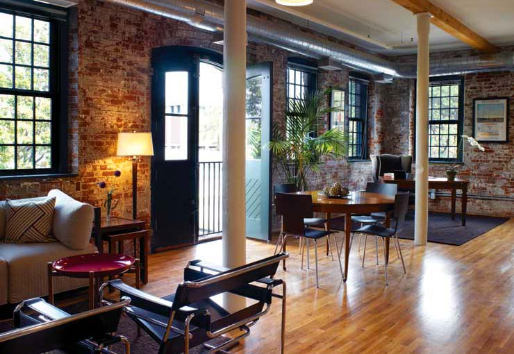One of the spaces with more exposed brick